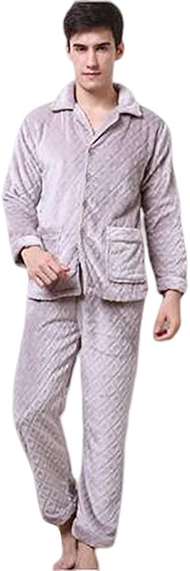 Pijamas De Franela Gruesa Cálida De Invierno Hombres Ropa De ...