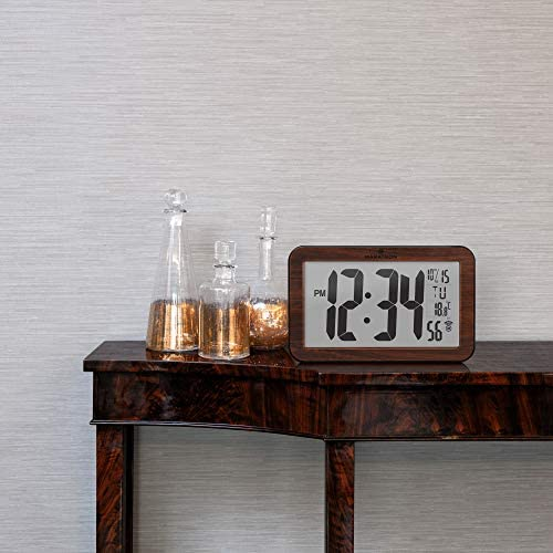 Marathon Commercial Grade Panoramic Atomic Wall Clock with Table Stand – Batteries Included – CL030033WD Wood Grain Finish