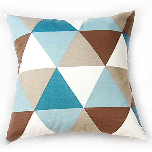 TAOSON Large Triangle Geometric Pattern Cotton Canvas Pillow Sofa Throw Cushion Cover Pillow Case with Hidden Zipper Closure Only Cover No Insert 25x25 Inch 65x65cm -Argyle Blue