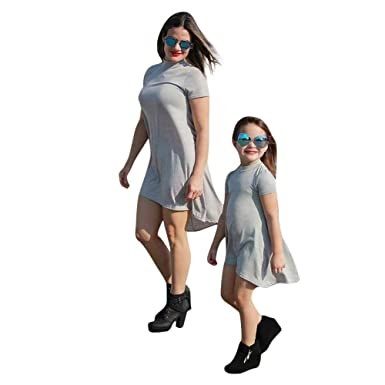 ba5ae723d PLOT❤Family Matching Clothes Mommy Daughter Girls Irregular Dress Kids  Outfits Dresses: Amazon.co.uk: Clothing