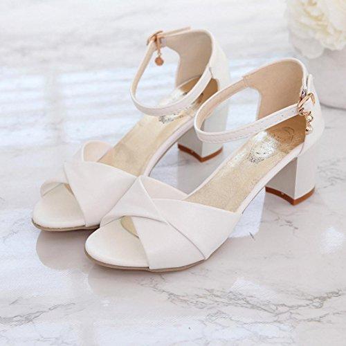 Talon Beautyjourney Sandales Chaussures Femmes Tongs Blanches Haut Shoes Open Cheville Talons Partie Femme Toe Talons Blanc Sandales Plage Sandales Sandales rrROqwg6