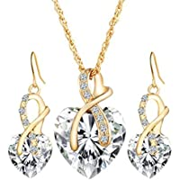 Clearance Deals Women Heart Crystal Rhinestone Silver Chain Pendant Necklace+ Earrings Jewelry Sets Romantic Gift by ZYooh