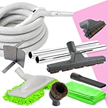 Deluxe Central Vacuum Hose and Accessories Kit Ideal for Hardwood and All Types of Bare Flooring (30ft)