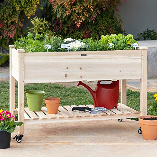 Best Choice Products Raised Garden Bed 48x24x32in Mobile