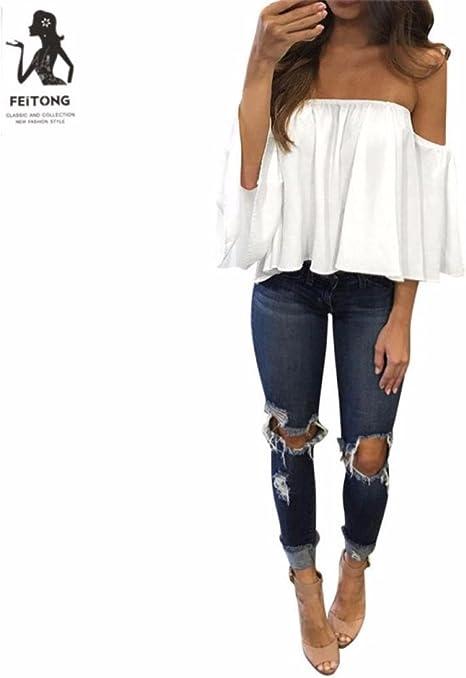 Camisas Mujer,Modaworld Camiseta de Manga Larga para Mujer con Blusa Casual con Hombros Descubiertos Blusas Elegantes de Fiesta niña Crop Tops Camisas de Vestir: Amazon.es: Deportes y aire libre