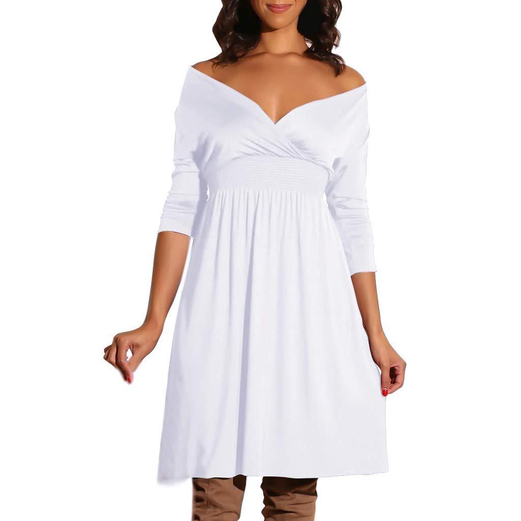 56e942cbb94b Womens V-Neck Off Shoulder Cocktail Skater Dress Wedding Party Cocktail  Dresses (White