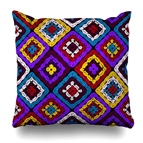 Ahawoso Throw Pillow Cover Autumn Granny Squares Pattern Ripples Afghan Crocheting Crochet Multicolored Knitted Cozy Winter Home Decor Sofa Pillowcase Square Size 20 x 20 Inches Cushion Case
