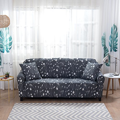 Lamberia Printed Sofa Cover Stretch Couch Cover Sofa Slipcovers for 4 Cushion Couch with One Free Pillow Case (Moonlight Flower, Sofa 4 Seater)