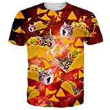 Alistyle Unisex 3D Meat Roll Cat Creative Print Short Sleeve T-Shirt Casual Graphic Tee