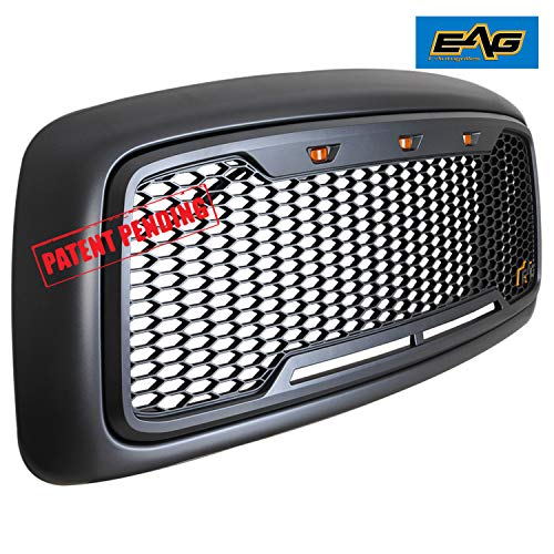 EAG Replacement Upper Grille Front Hood Grill Fit for 02-05 Dodge Ram 1500//03-05 Dodge Ram 2500 3500 Heavy Duty
