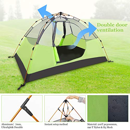 Tolaccea 2 Person Instant Camping Tent Portable Automatic Beach Tent Windproof & Rainproof Lightweight Aluminum Professional Tents for Outdoor Garden Camping Fishing Picnic Hiking Green