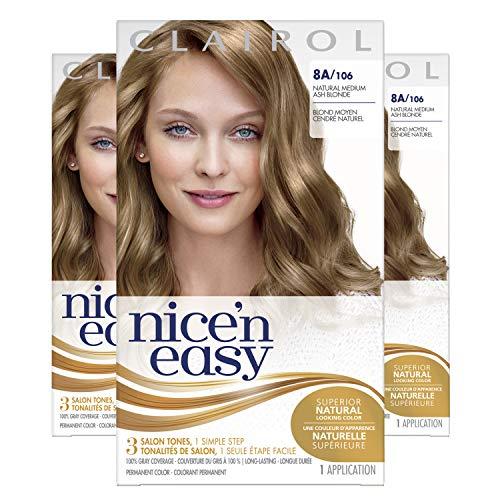 Clairol Nice'n Easy Original Permanent Hair Color, 8A Medium Ash Blonde, 3 Count