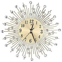 TOOGOO Wall Clock Diamonds Decorative Round Clock Metal Living Room Decor Quiet Quartz Clocks Modern Minimalist Clocks(Gold)