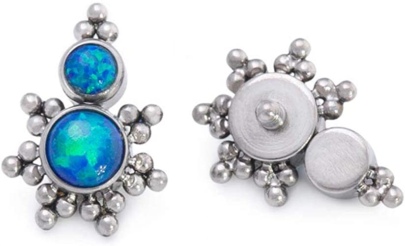 Painful Pleasures Titanium Top with Four Clustered Synthetic Opals /— Your Choice of Opal Color /— Internal 1.2mm