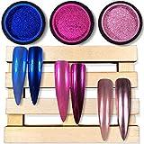 Chrome Nail Powder by iMethod - The Best 2019 Nail Trends Metallic Chrome Powder for Mirror Effect Nails, Premium Salon Grade Manicure Pigment, Rose Gold, Magenta, Navy Blue, 0.04oz/1g per Jar, 3 Jars