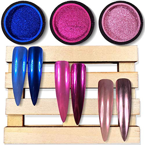 Chrome Nail Powder by iMethod - The Best 2019 Nail Trends Metallic Chrome Powder for Mirror Effect Nails, Premium Salon Grade Manicure Pigment, Rose Gold, Magenta, Navy Blue, 0.04oz/1g per Jar, 3 Jars