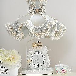 TY&WJ European style [lovely] Clock Table lamp Desk lamp kids Bedroom Living room [household] Decoration Button switch Bedside table lamp Reading light Nightlight-B