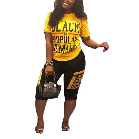 AIBBMIN - Conjunto de Camiseta y pantalón para Mujer, 2 Piezas ...