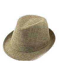 Baby Linen Fedora Hat Infant Toddler Jazz Cap Kids Straw Sun Cowboy Hat