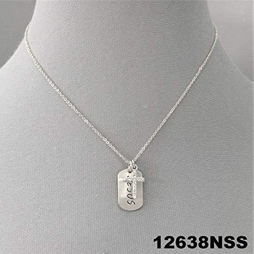 Silver Finish Engraved Jesus Dog Tag Rhinestone Religious Cross Charm Necklace