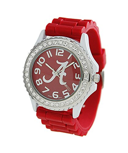 NCAA Licensed Ladies Large Face Silicone Watch with Rhinestones (Alabama Crimson Tide) (Alabama Crimson Tide Ladies Watch)