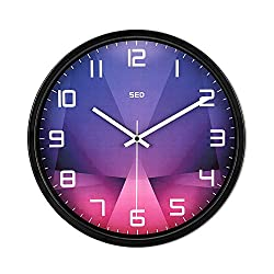 Color Map Black Wall Clock, 12 Inch Silent Non Ticking Quality Quartz Battery Operated Easy to Read Home/Office/School Clock, With Stoving Varnish Finished Metal Frame(Purple crystal, Black)