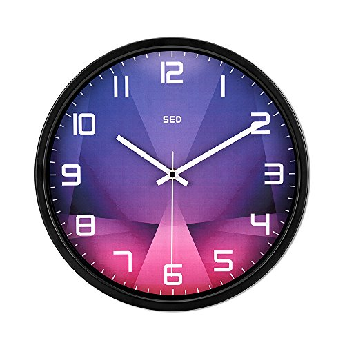 12 Inch Silent Non-ticking Universal Quartz Movement Wall Clock-Large Morden Indoor Outdoor Wall Clocks- Metal Frame Glass Cover And Battery Operated (Purple crystal, Black)