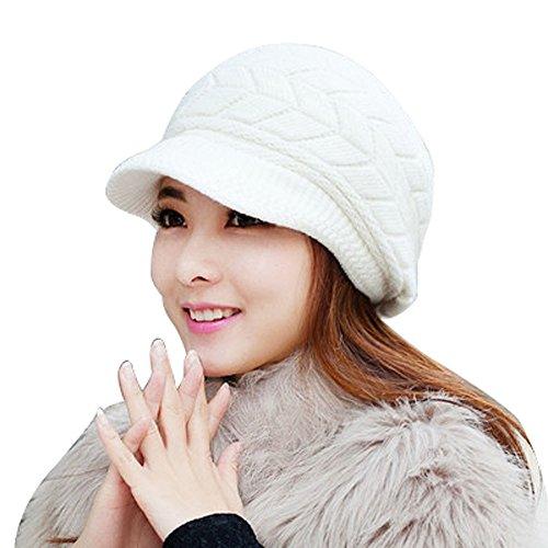 MONISE Women Winter Knit Beanie Hat Ladies Fashion Knitted Cap Headband White (Near Umbrella Bubble Me)