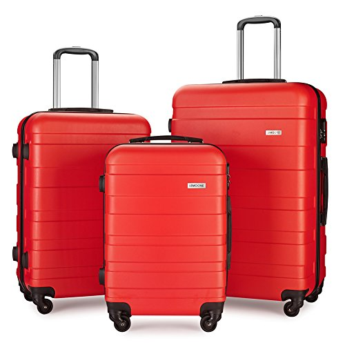 Luggage Set Lightweight Suitcase Set ABS 3 Piece Hard Shell Luggage set(20 inch, 24 inch, 28 inch) (red) by LEMOONE