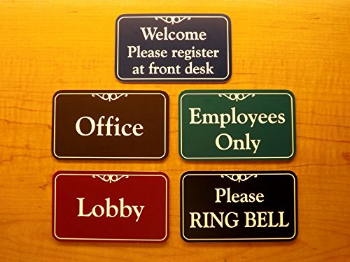 Engraved 3x5 Office Suite Sign | Name Plate | Wall or Door Plaque | Adhesive Backed Business Home Office Receptionist Unit Condo Apartment Restroom Laundry Closet Employees Only Signs Placard Plaque