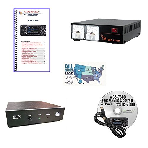 Icom Antenna Tuner - Icom IC-7300 Accessory Pack Bundle - - WCS 7300 Programming Software and Cable - Nifty Guide - LDG IT-100 Auto-Tuner - Samlex 30A Switching Power Supply and Ham Guides Pocket Reference Card Bundle!