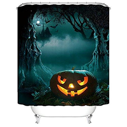 YEHO Art Gallery Bath Curtain with Halloween Night Theme Horror Forest Pumpkin Pattern Fabric Waterproof Barthroom Shower Curtain with Hooks 70x72 -