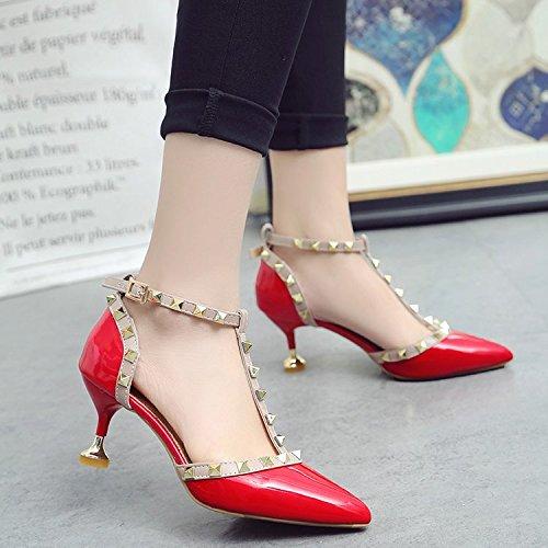 Xue Qiqi Remache con punta fina, con el alto talón zapatos Zapatos sandalias de hebilla hembra 6cm El rojo