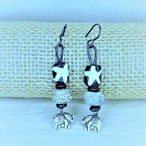 Kenya Batik & Woolly Mammoth Elephant Charm Earrings (Mammoth Ivory Jewellery)
