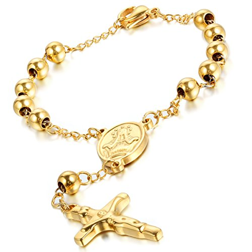 Flongo Men's Womens Vintage Stainless Steel Gold Jesus Crucifix Cross Rosary Bead Prayer Link Wrist Bracelet, 8.6 inch, Jesus Christ Crucifix Rosary Bracelet Wristband, Prayer Religious Cross Bangle (Gold Bead Link Chain)