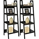 Avenue Greene 60'' Black Ladder Frame Bookcases (Set of 2), Sturday Metal Frame