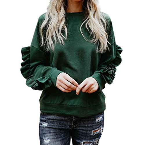 Womens Fashion Print Fying New Women Casual Autumn O Neck Long Sleeve Patchwork Solid Pullover Tops Blouse Sleeve Hoodie Sweatshirt Jumper Pullover Tops Blouse (XL, green) (Wool Panda)