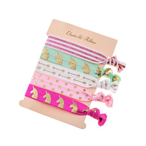 DDazzling Girls Unicorn Hair Ties Elastic Hair Ties Party Favors (Rose Pink White Green)