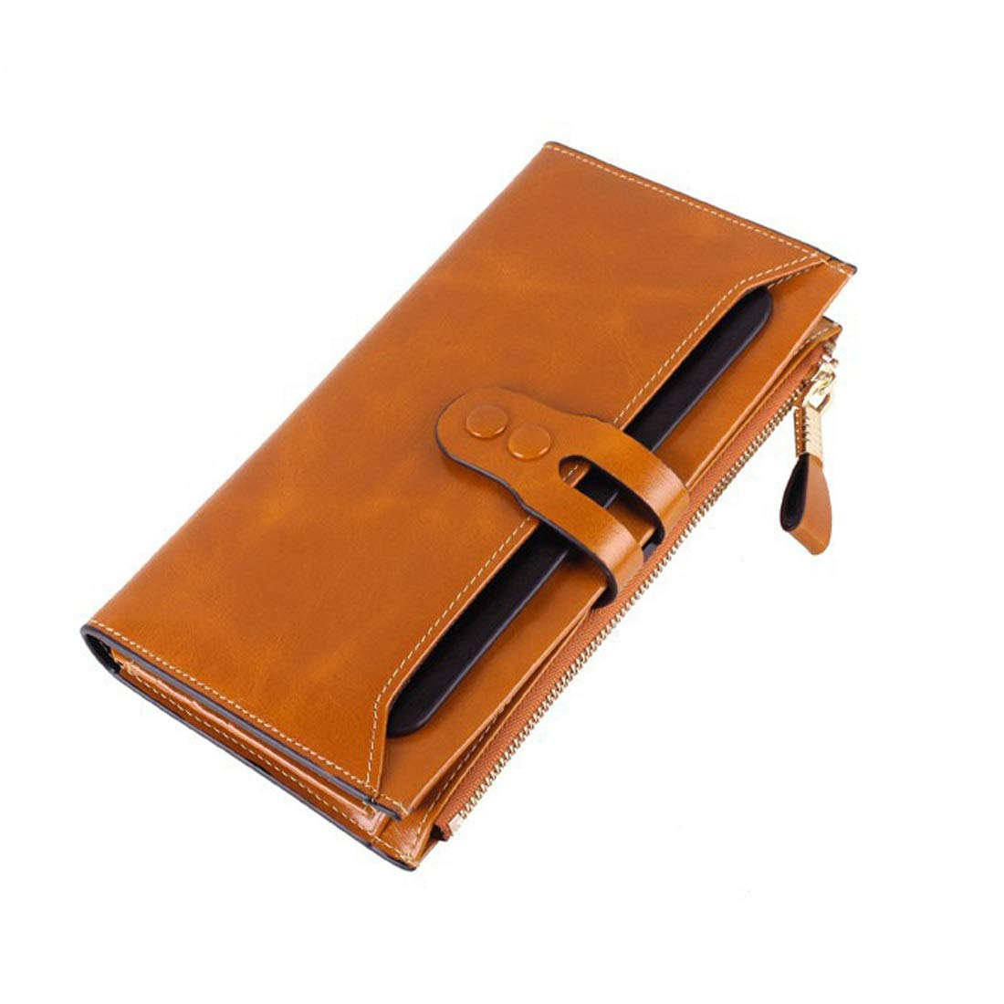 Professional Bag Long Wallet Unisex Zipper Wallet Fashion Large Capacity Folding Wallet Leather Cowhide Multicolor Available Select. Outdoor Travel Essentials (color   Brass)