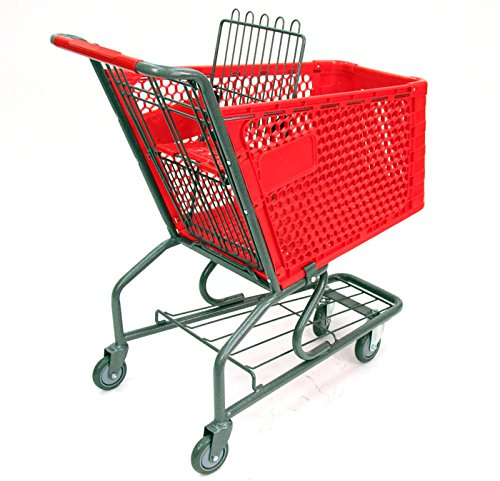 3 New Small Plastic Shopping Cart w/ Bottom Tray and Red Basket (100-liter)