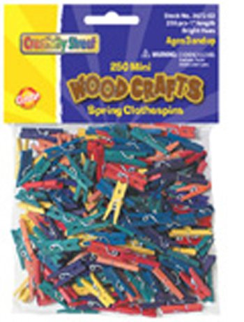 7 Pack CHENILLE KRAFT COMPANY MINI SPRING CLOTHESPINS BRIGHT HUES