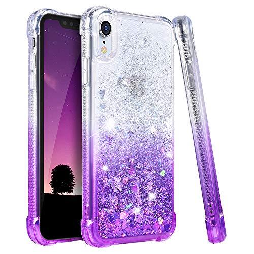 (Ruky Case for iPhone XR Glitter Case, Gradient Quicksand Series TPU Bumper Cushion Reinforced Corners Protective Bling Liquid Girls Women Case for iPhone XR 6.1 Inch - Gradient Purple)