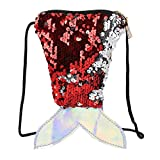 Girls Mermaid Tails Coin Purses Sparkly Sequin Wallet Handbags Key Holders Pouch Bling Crossbody Purse Bag Kids Gift (Red, One Size)