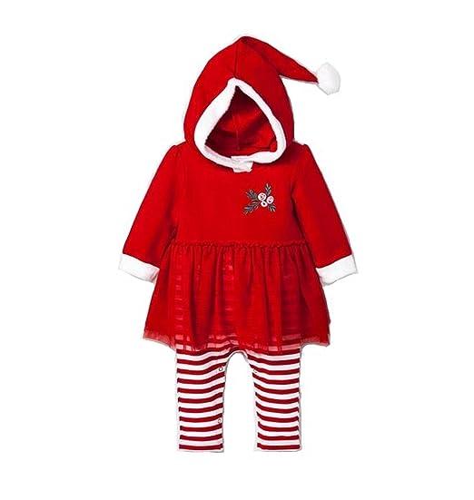 5b8faea3674e Amazon.com  Cat   Jack Baby Girl s Santa Romper With Hood Red (0-3M ...