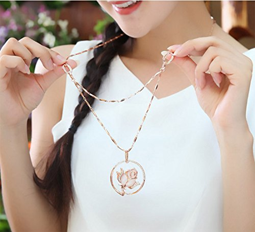 Womens Charm Accessories Loverly Flower Pendant Chain Rose Gold Plated Long Sweater Necklace Crystal
