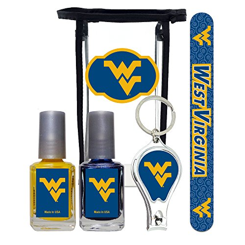 (West Virginia Mountaineers Manicure Pedicure Set with 7-Inch Nail File, Nail Clippers, 2 Nail Polishes in Team Colors, and Toiletry Bag for the Whole Kit. NCAA Gifts and Gear for Women)