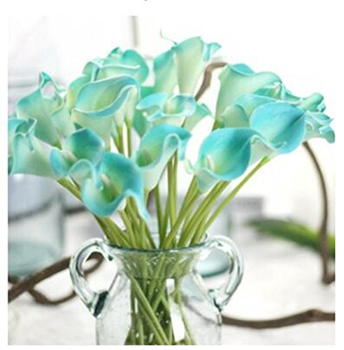 15pcs Calla Lily Bridal Wedding Bouquets with Latex-Look Like Real,Eco-friendly Odourless Artificial Flowers Home Garden Hotel Party Event Christmas Wedding Gift Decoration (15, Diamond Blue) - Black Calla Lilly Bouquet