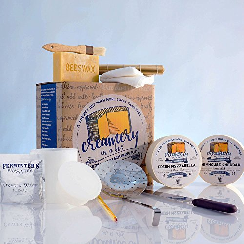 Cheddar Cheese Making - Creamery In A Box Essential Cheese Making Equipment Starter Kit - Farmhouse Cheddar Cheese Recipe Kit And Mozzarella Cheese Recipe Kit With Ingredients For Homemade Cheese Making