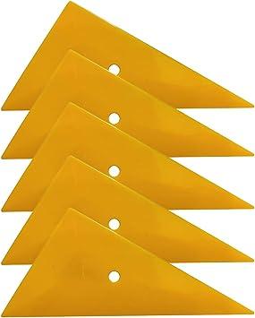 SYTASOO 5pcs Go Corner Triangle Card Scraper Yellow Plastic Squeegee Car Vinyl Wrap Tool Silver