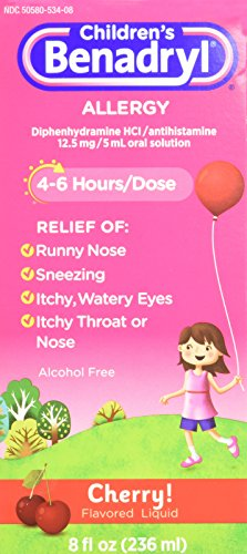 Children's Benadryl Allergy, Cherry Flavored Liquid 8 fl oz (Pack of (Childrens Benadryl)